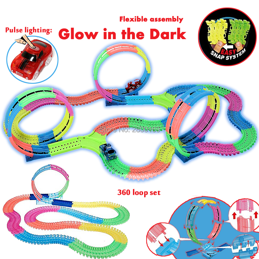 Twister Tracks Bend Flex 360 Loop Glow in the Dark DIY Assembly Luminous Toy Slot Race