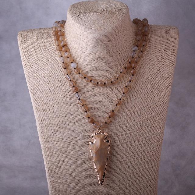 7d90e11b7bfe Moda 130 cm nudo largo Halsband amarillo ágata piedras Arrowhead colgante  collar hecho a mano PIEDRA