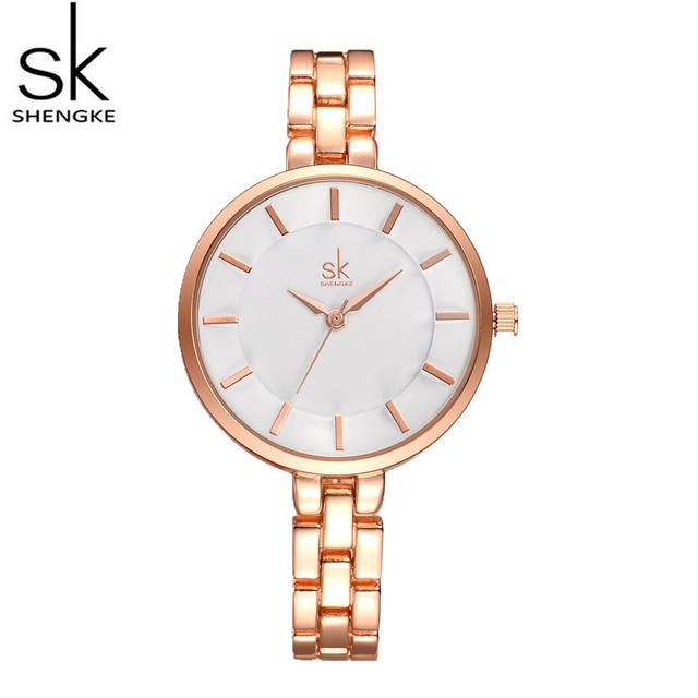 SK Moda Minimalista Assista Mulheres Relógios de Luxo em Ouro Rosa Relógios Pulseira de Aço Completa Assista Horas montre femme relogio feminino