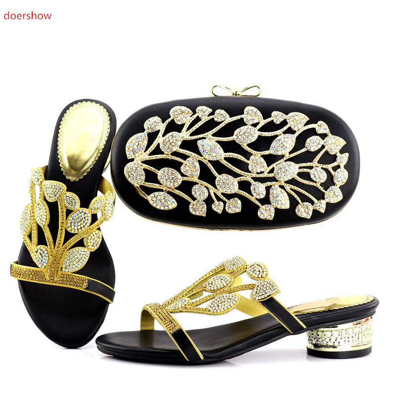 doershow Lady Italian Shoes and Bag Set Decorated with Rhinestone Italian Shoes with Matching Bags for Women  JX1-5 italian visual phrase book