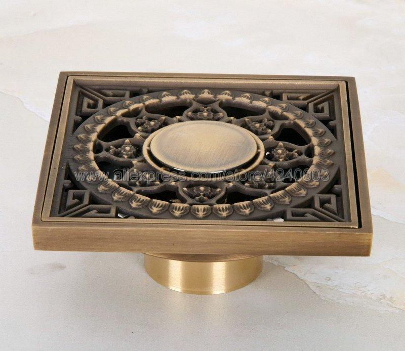 Elegant Antique Brass Waste Floor Drain Shower Round Bathroom Floor Drain Cover
