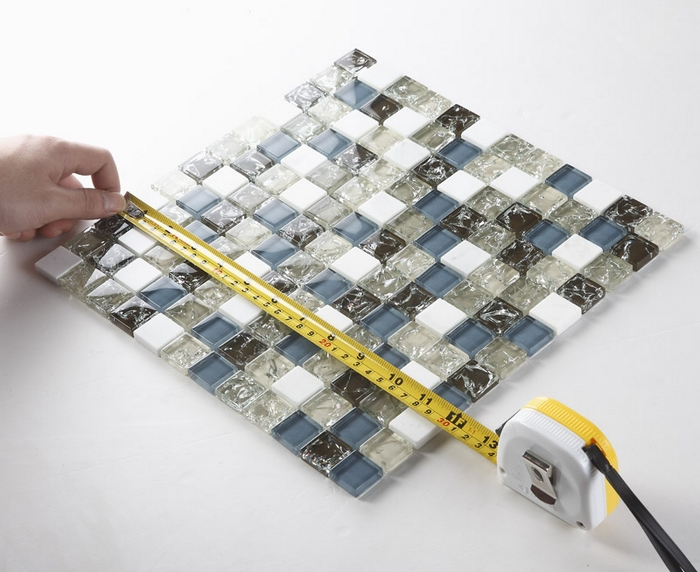 Blue Glass Mixed Gray Glass And White Stone Mosaic Tiles Resin