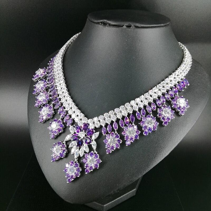 2019 noua moda de lux retro romantice violet flori violet colier - Bijuterii de moda - Fotografie 4