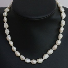 100% Selling Picture full Natural white cultured freshwater irregular pearl beads 11-12mm fashion neckalc
