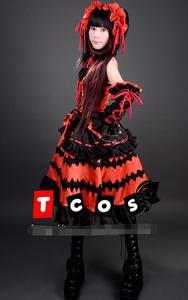 Image 4 - Nuevo Popular porque Sonico Kurumi Anime Cosplay Fecha en directo Cosplay Halloween conjunto completo 4in1 (Vestidos + Headwear + cuello adornos + Arco kn