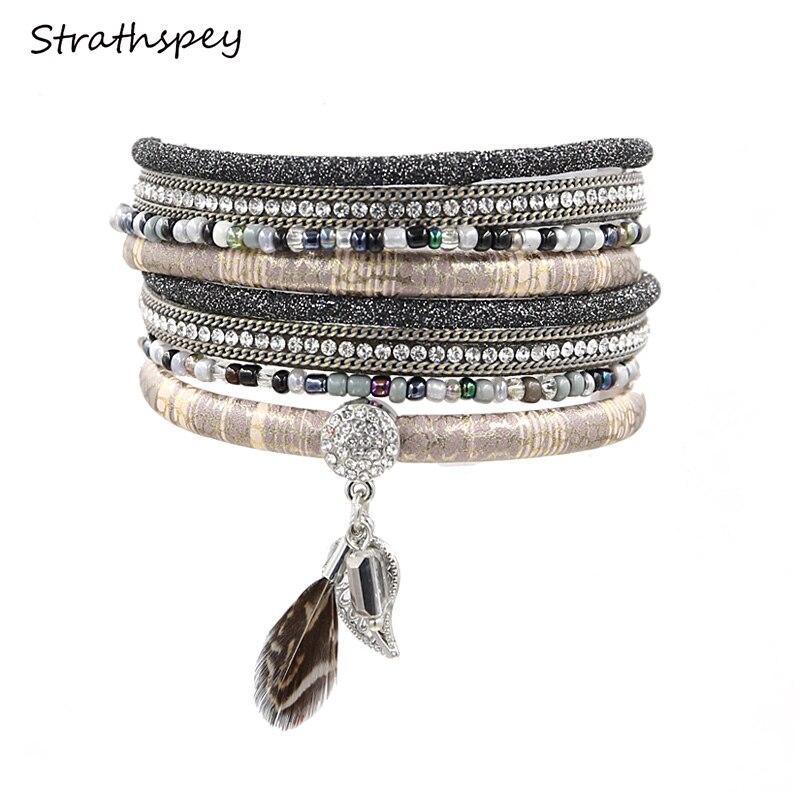 gelang kulit multilayer dengan gelang manik bulu bohemian daun berlian imitasi loket gelang pulsera cuero