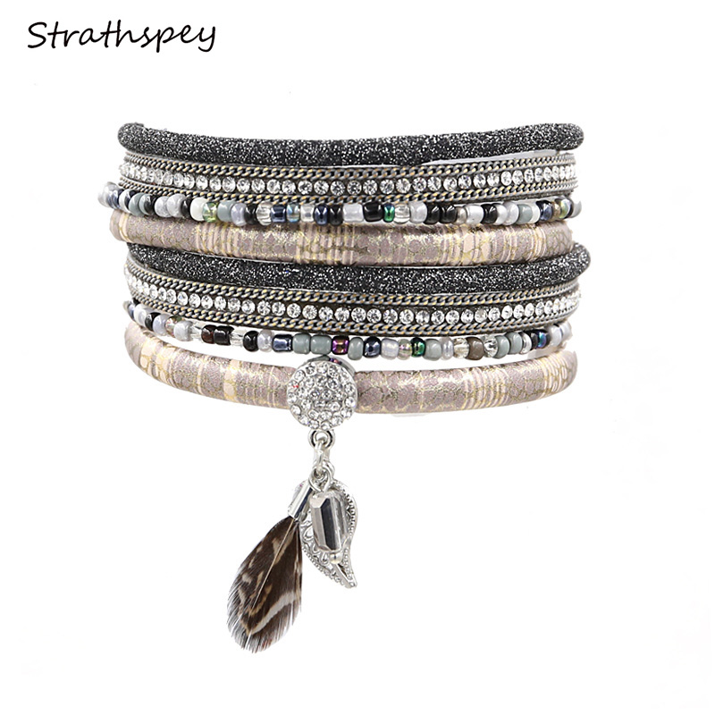 flerskikts läderarmband med fjäderbohemsk pärlband armband strass bladhänge armband pulsera cuero