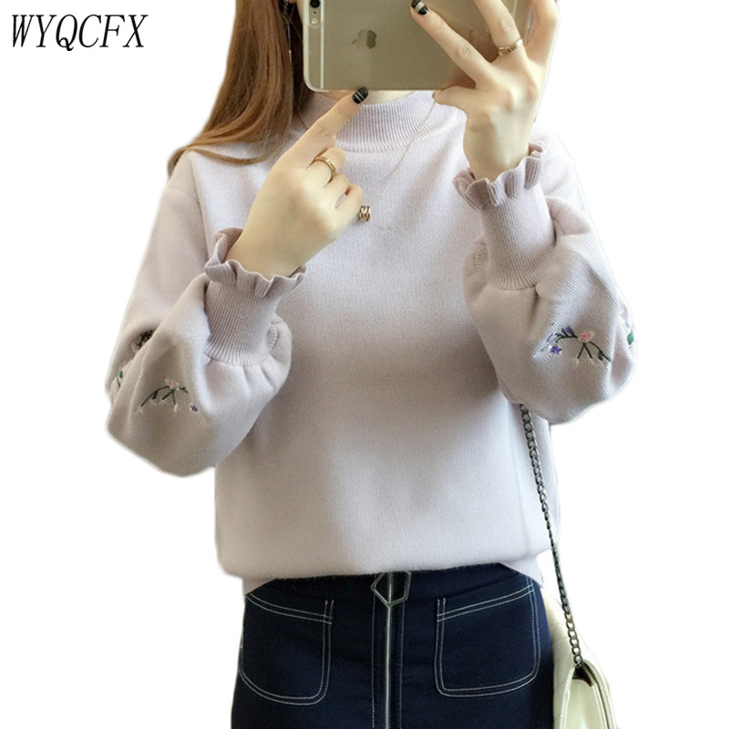 2019 New Autumn Winter Sweater Women Loose White Embroidery Pullovers Warm Knit Jumper Korean Spring Tops Female Black Plus Size