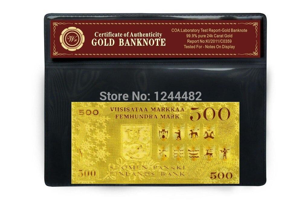 Billete de banco WR Finland 500 Gold Gold Plated Bill con buen regalo - Decoración del hogar - foto 5