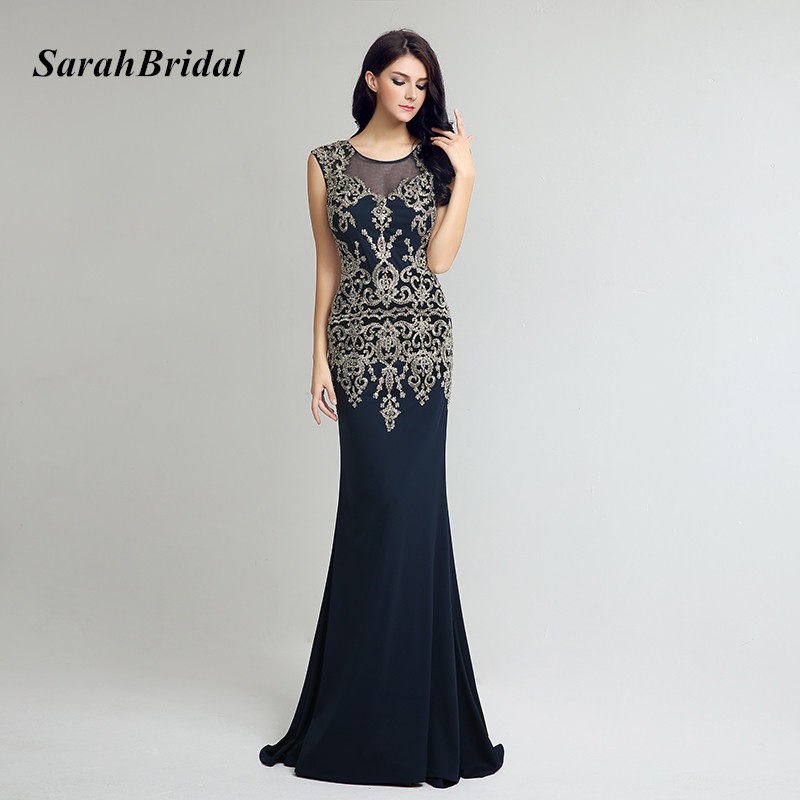 78d4b5cfd0dd Navy Blue Long Dress Elegant Lace Applique Evening Dresses 2017 Illusion  Back Floor Length Formal Gowns. Περίσταση. Επίσημο βραδινό