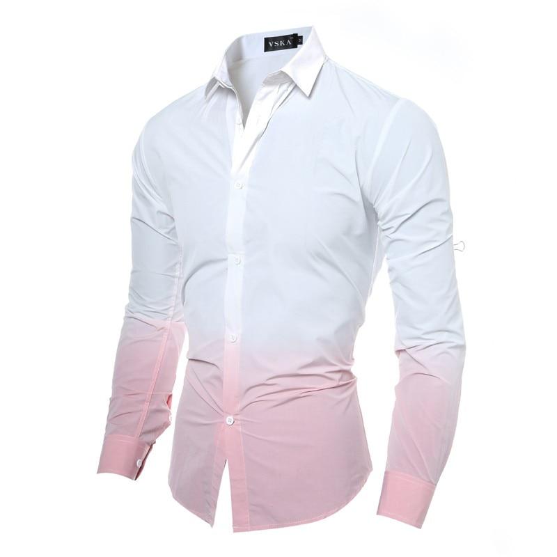Vska Men Dress Long-Sleeve Nightclub Style Stand Collar Satin Shirts