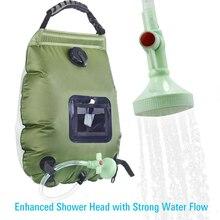 Сумки для воды на открытом воздухе, сумка для душа на солнечных батареях, походная сумка для душа, 20л, подогрев, походная сумка для душа, гидратация, шланг, переключаемая насадка для душа