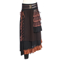 RQ Series Women Punk Retro Lace Up Long Skirt Patchwork Ankle Length Skirts Gothic Asymmetrical Skirts