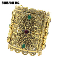 Groothandel Plus Size Indiase Vrouwen Bloem Bangle Armband Antieke GoldColor Hars Holle Metalen Manchet Turkse Etnische Bruiloft Sieraden