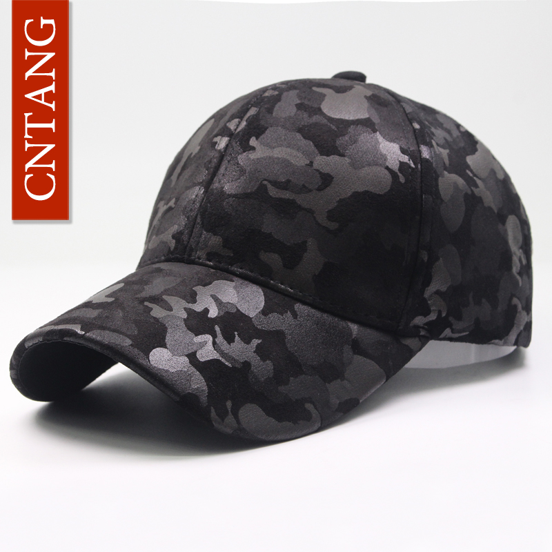 CNTANG Leather Suede PU Camouflage   Baseball     Cap   Men Fashion Spring Hat Snapback Hip Hop Unisex   Caps   Adjustable Brand Casual Hats