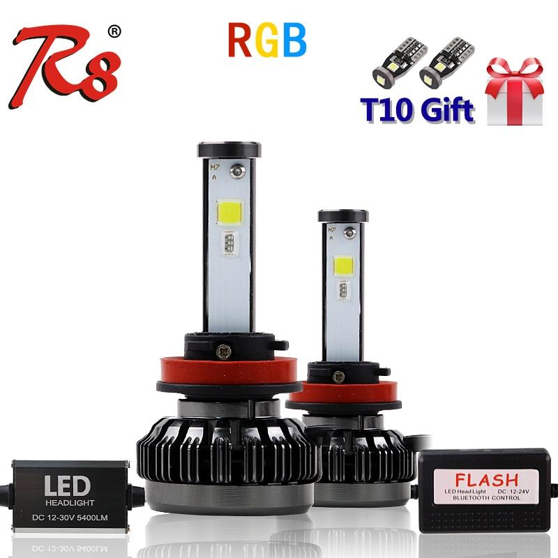 R8 Nouvelle Voiture RVB phare LED H1 H3 H4 H7 H8/H11 9005 9006 880 9012 5202 ampoule LED APPLICATION Contrôle Bluetooth multicolore 40 W 6000LM