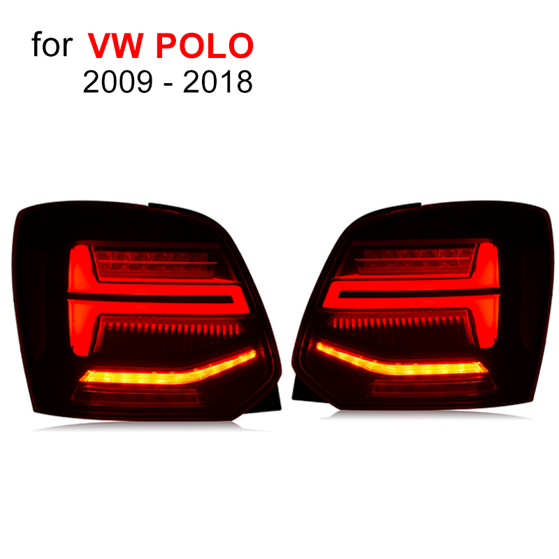 LED Tail Lamp for Volkswagen VW POLO 2009 2018 Red Smoked Black LED Tail Light Sequential