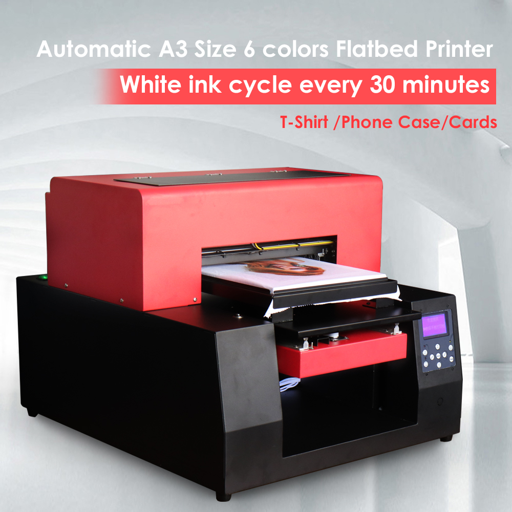 Automatic A3 Cloth T-shirt Printer 6 Color Custom DIY Garment For Epson 1390 Phone Case Card Inkjet  Flatbed Printer With Laptop
