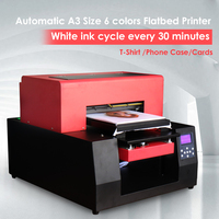 Automatic A3 Cloth T shirt Printer 6 color Custom DIY Garment For Epson 1390 Phone Case Card inkjet Flatbed Printer with laptop