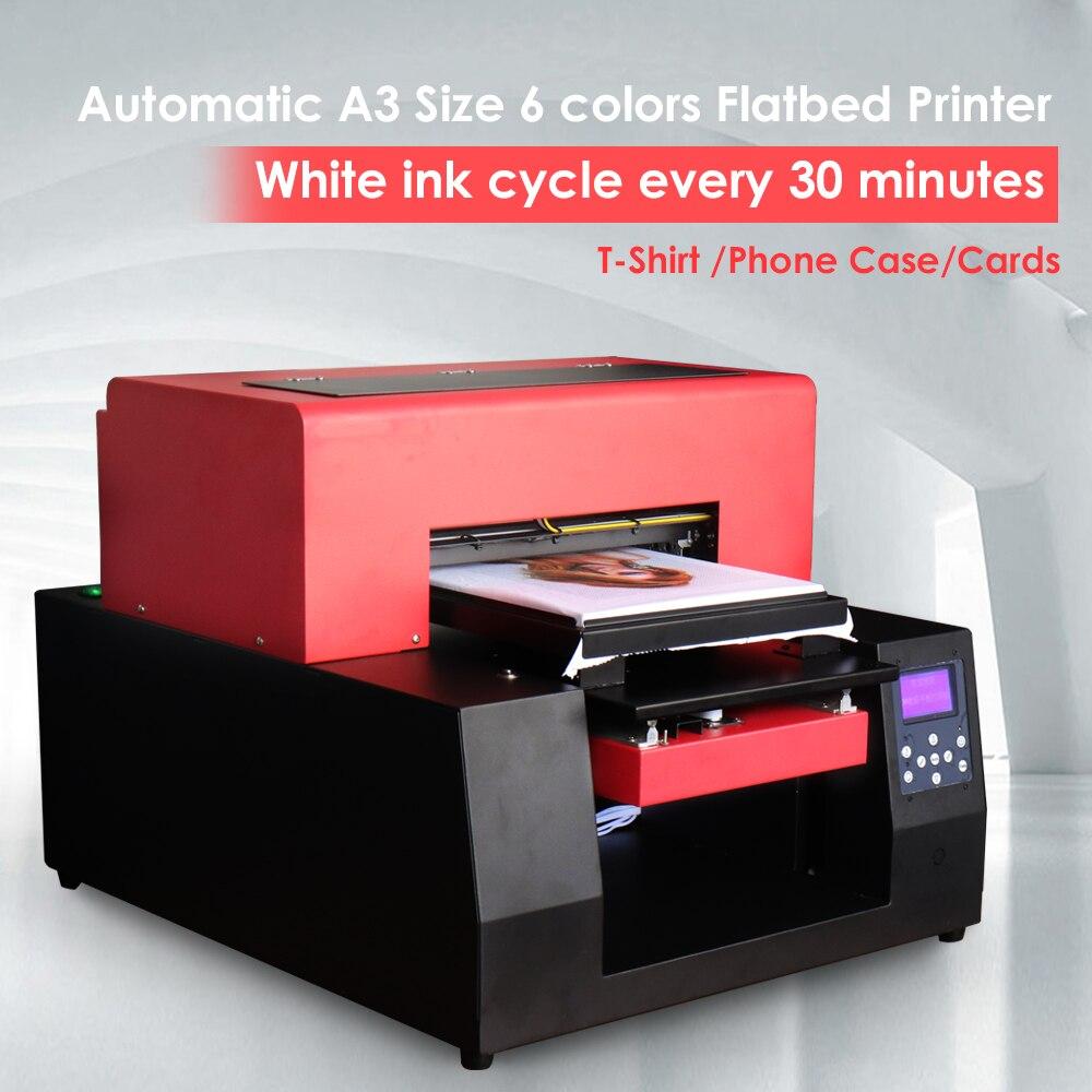 Automatique A3 tissu T-shirt imprimante 6 couleurs personnalisé bricolage vêtement pour Epson 1390 coque de téléphone carte jet d'encre à plat imprimante avec ordinateur portable