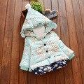 Jaqueta Infantil Menina bonito Do Bebê Com Capuz 2016 Inverno Casaco Outwear Manga Longa Rosa Neve Para Baixo Roupas de Algodão Crianças Roupas Grossas