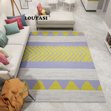 LOUTASI European Style Geometric Printed Carpet for Living Room Anti-Slip Soft Bedroom Floor Mats Large Size Home Area Rugs