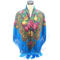 New Brand Fashion Winter Cotton And Flowers Big Size Square Scarf Soft Warm Charm Tassel Scarf