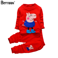 Beytoon 2017 Fall Kids Pepa Pig Children Clothing Baby Girls Set Cartoon Pig Sweatshirt Legging Pant