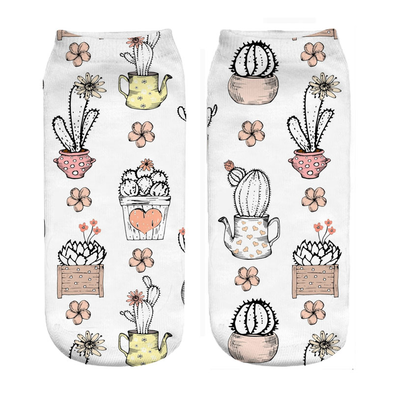 Bunte Kaktus Topf Cartoon Design 3d Digital Print Socken 2018 Neue Stil