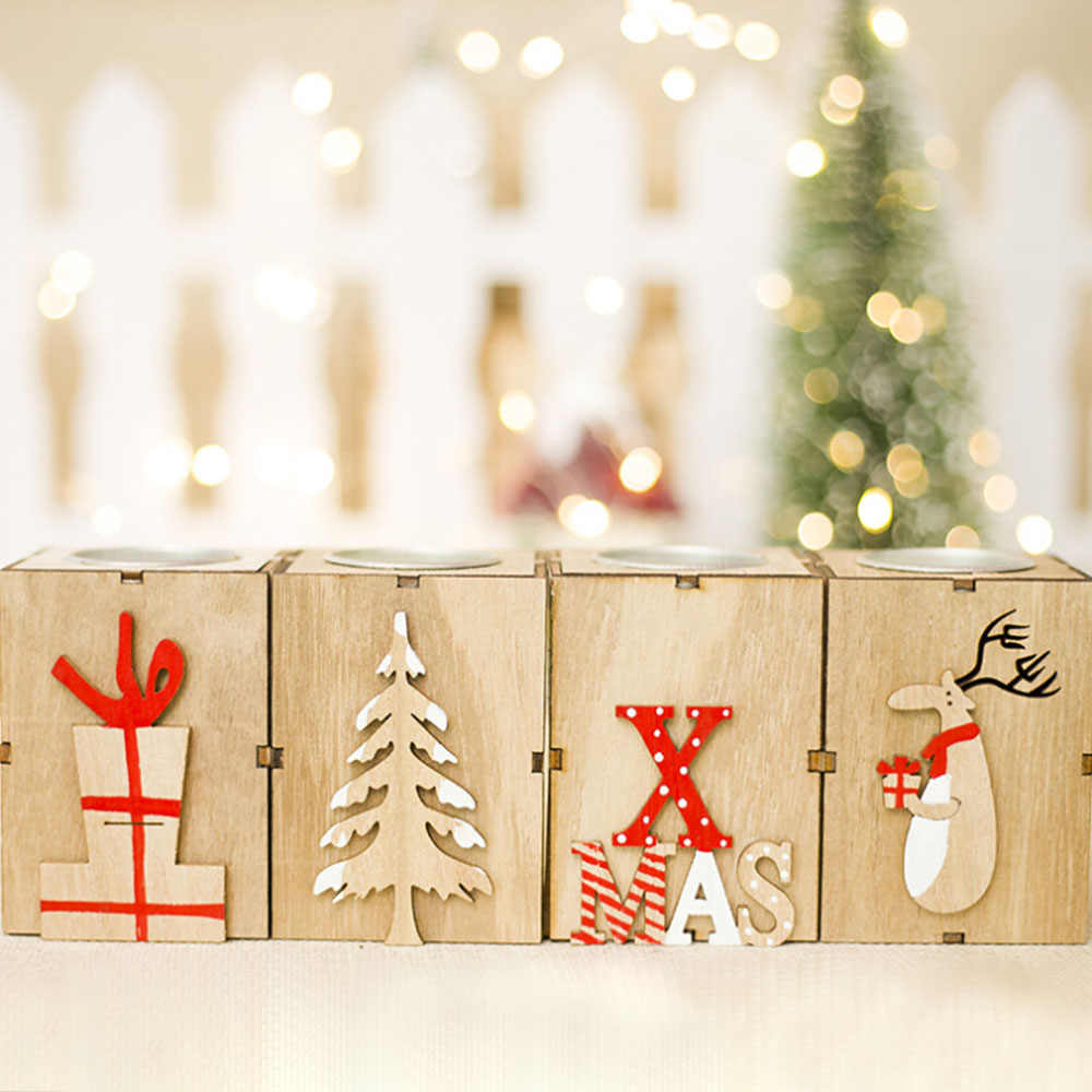 Christmas Tree Box Stand.Romantic Crafts Mini Chritmas Candle Box Stand Ornaments Wooden Tree Table Christmas Candlestick Home Room Party Diy Decoration