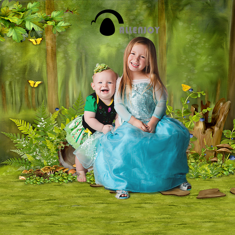 Allenjoy Photo background Forest Tree Butterfly Green Fairy Tale New professional for photography vinyl photo backdrop send rolled enchanted forest backdrop secret garden lantern fairy tale printed fabric photography background s0038