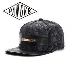 PANGKB Brand NO MERCY CAP Leather Metal Autumn snapback hat hip hop Headwear men women adult outdoor casual sun baseball cap
