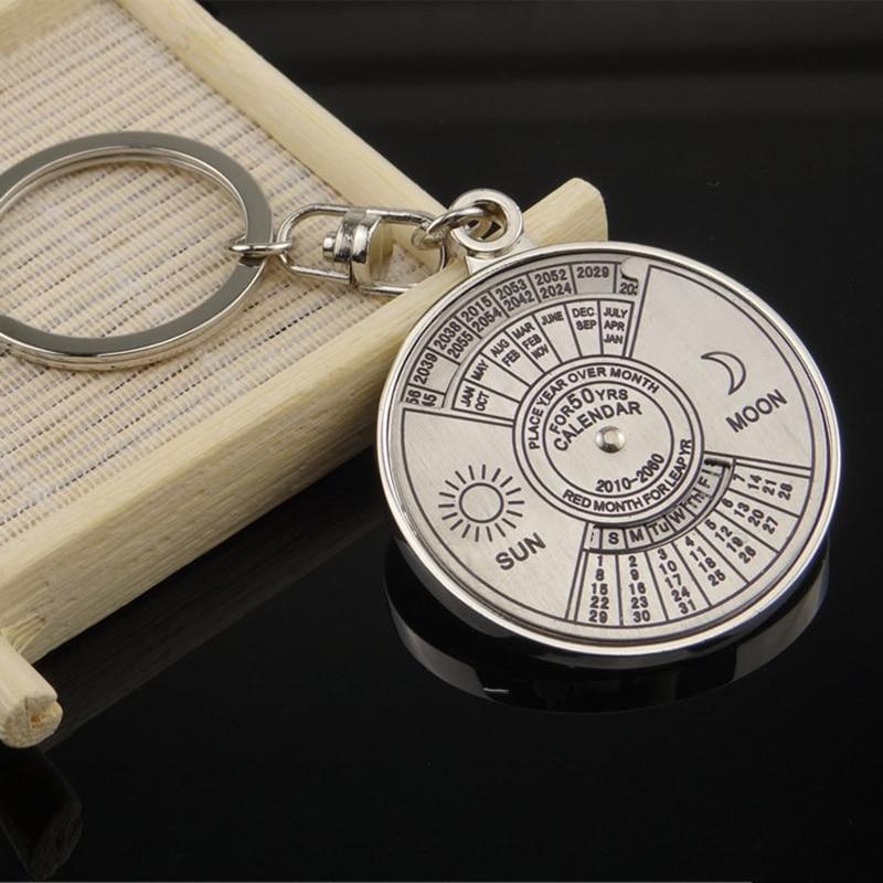 Desk Set New Fashion Personalized 50 Years Perpetual Calendar Keyring Keychain Silver Alloy Key Chain Ring Keyfob