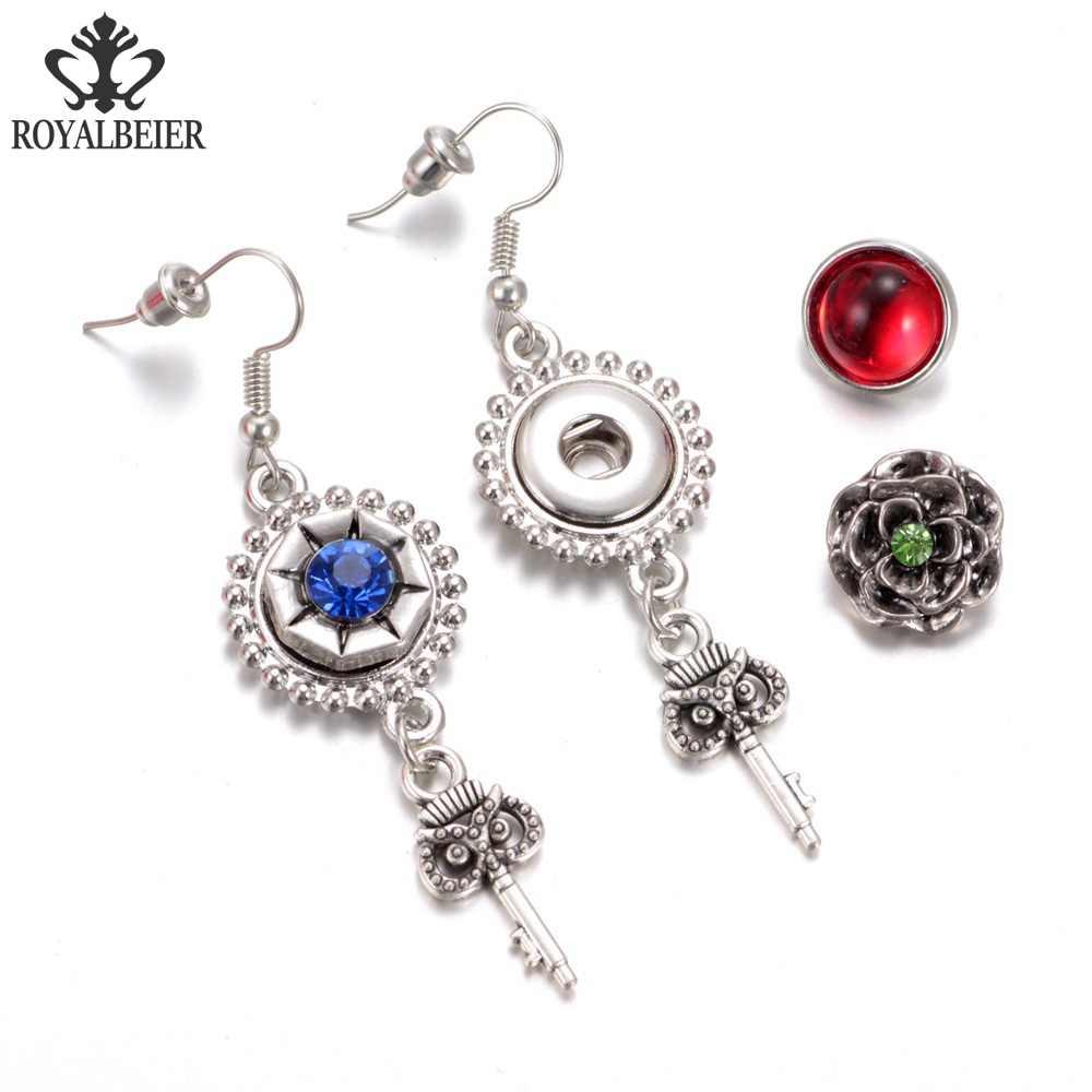 ROYALBEIER 12 sztuk/partia mieszane wzory Cat 12mm szkło przystawki przycisk biżuteryjny Faceted szkło przystawki przystawki przystawki kolczyki bransoletka naszyjnik