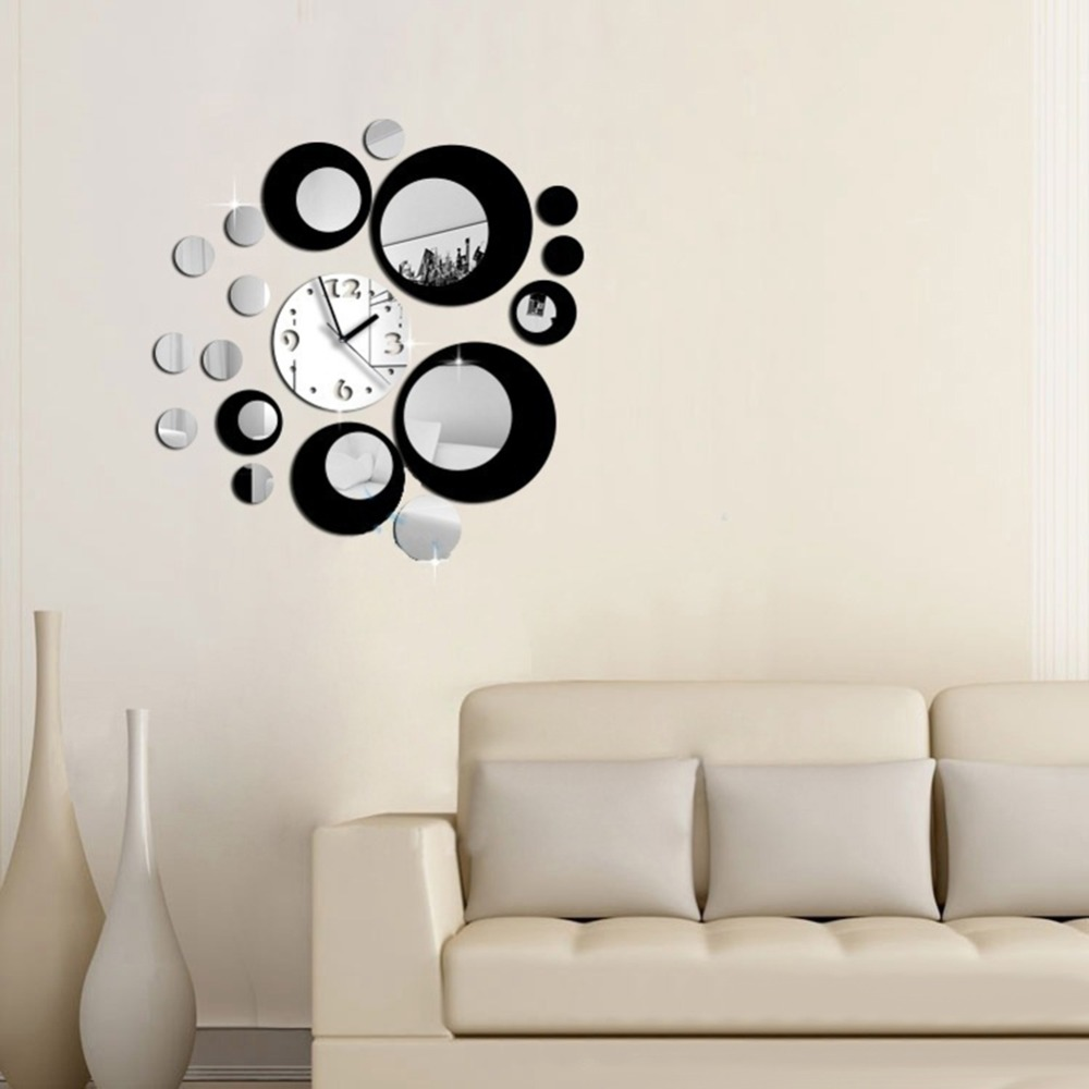 Modern Art Decor Wall Clock Sticker : Aliexpress buy modern circles acrylic mirror style
