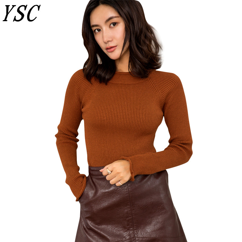 2018 winter Hot Sales Women Cashmere pullovers Double circle collar Solid color long sleeve Slimming style