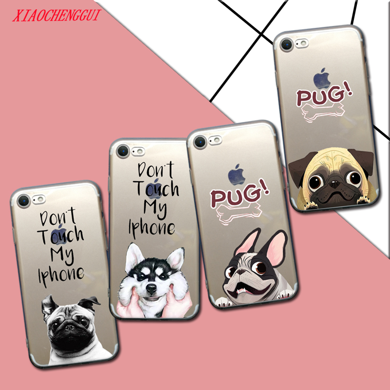 Pocket Dog Cat TPU Phone case for iphone 6 6s BullDog Pug Pattern Silicone case For iphone 7 8 Plus X 5 5s SE cover
