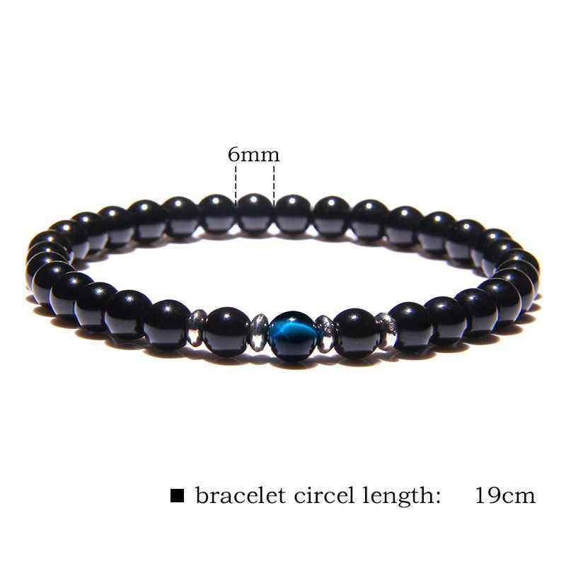 Trendi 6 Mm Natural Hitam Onyx Gelang Fashion Kaca Manik-manik Penyembuhan Keseimbangan Doa Energi Gelang untuk Pria Wanita Perhiasan