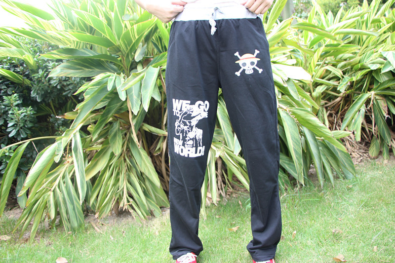 Winter New JP Anime One Piece Luffy  Mans Casual Pants Girls Black Pants  Unisex  Clothing in Spring