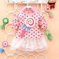2015 новая коллекция весна осень одежда точка леденец печать хлопка o-образным вырезом с длинными рукавами девочки платье A131