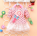 2015 New  spring autumn baby clothing  dot lollipop print cotton o-neck long sleeved baby girls dress  A131