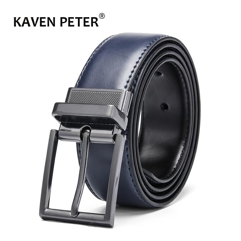 Reversible Cow Genuine Leather Belts For Men Luxury Men's Belt Leather Belt Gun Metal Alloy Buckle Casual Male Strap Blue Black