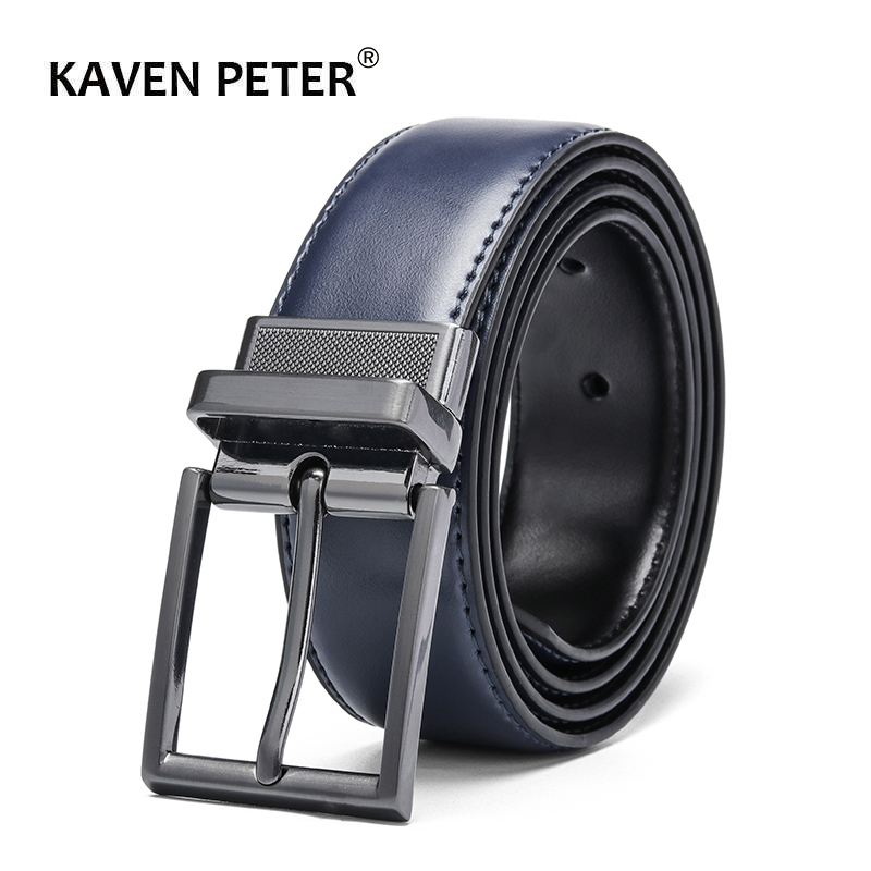 Reversible Cow Genuine Leather   Belts   For men Luxury Men's   Belt   Leather   Belt   Gun Metal Alloy Buckle Casual Male Strap Blue Black