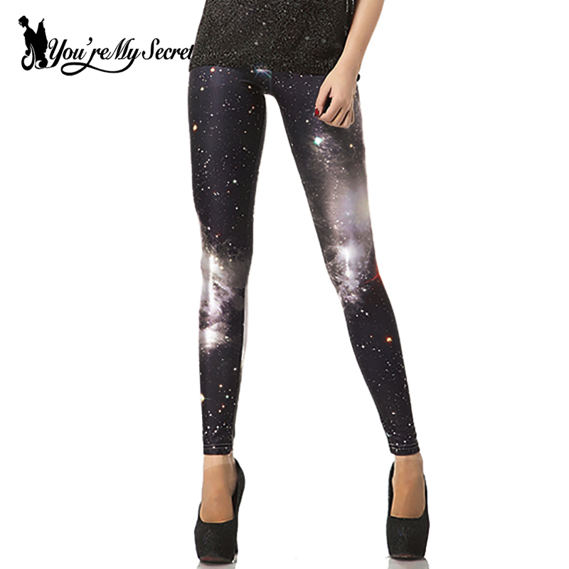 [You're My Secret] New Fashion Kebugaran Mujer Celana Leggins Galaxy Ruang Dicetak Wanita Workout Legging Elastis Lembut