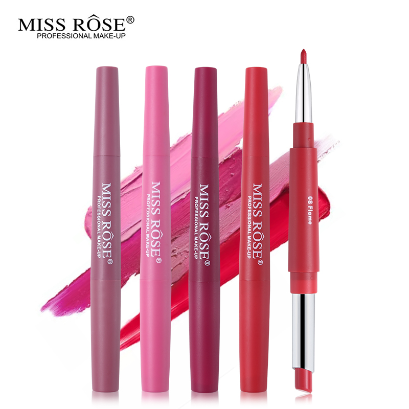 <font><b>Miss</b></font> <font><b>Rose</b></font> <font><b>Lipstick</b></font> Lipliner <font><b>Set</b></font> 4 Colors Silky <font><b>Matte</b></font> Lip Stick Waterproof Nude Lip Liner Soft Long-wearing Beauty Cosmetics Kit image