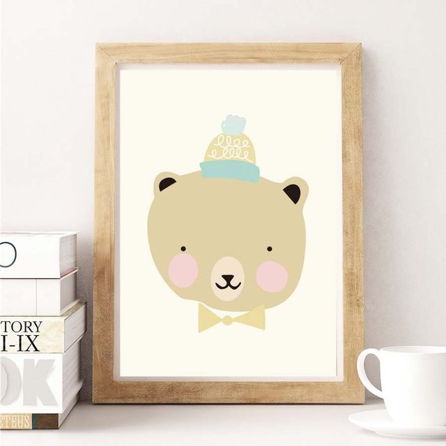 Online Shop Watercolor Cartoon Bear Panda Cute Animals Canvas ...