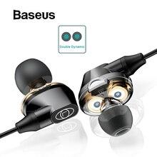 Baseus 3,5 мм проводные наушники с микрофоном двойные динамические наушники-вкладыши Наушники с микрофоном для samsung iPhone 6 6s смартфон