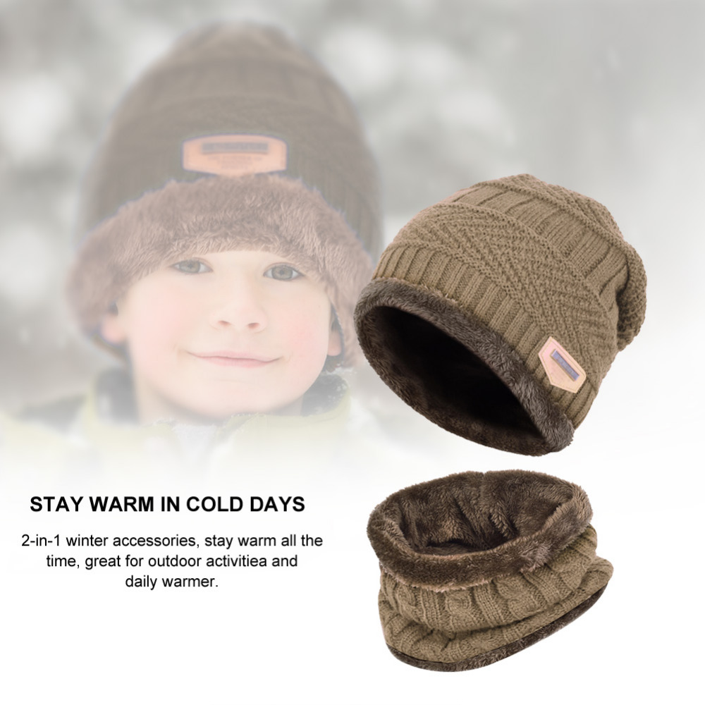 Vbiger 2pcs Kids Winter Warm Knitted Hat Children Cap Skullies Beanies  Circle Scarf with Thicken Fleece Lining for Boys Girls -in Skullies    Beanies from ... 03ee7025b8a