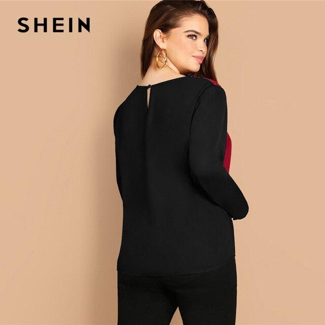 SHEIN Multicolor Keyhole Back Color-block Button Long Sleeve Top Plus Size Blouses Women 2019 Spring Round Neck Blouse 2