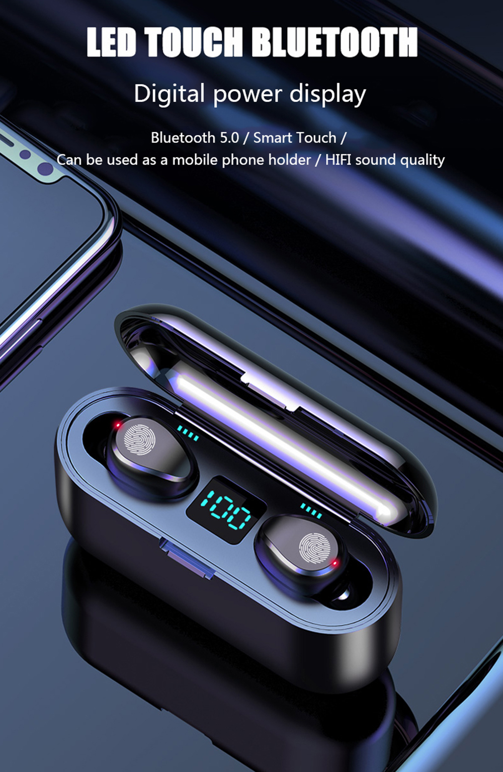 Touch Control TWS 5.0 Bluetooth Earphone Wireless Headphones Handsfree HIFI